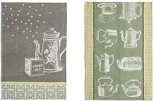 2 Piece Tea and Teapots Tea Towel Set August Grove