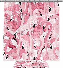 2 Pieces Bathroom Decor Set Pink Flamingos