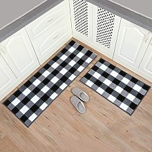 2 Pieces Buffalo Plaid Check Rug Set Water Absorb