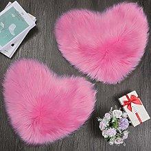 2 Pieces Fluffy Faux Sheepskin Area Rug Heart