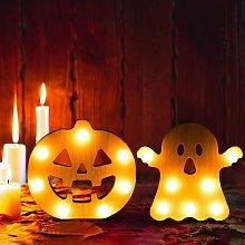 2 Pieces Halloween Decorative Lights Wooden