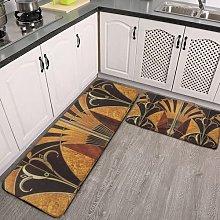 2 Pieces Kitchen Rugs and Mat,art Nouveau art deco