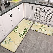 2 Pieces Kitchen Rugs and Mat,Bee Happy bumble