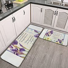 2 Pieces Kitchen Rugs and Mat,Calligraphy Verse