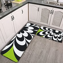 2 Pieces Kitchen Rugs and Mat,Chic Daisy Lime