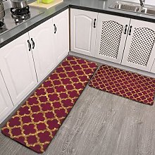 2 Pieces Kitchen Rugs and Mat,Chic Gold Glitter