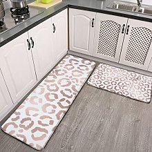2 Pieces Kitchen Rugs and Mat,Chic Rose Gold