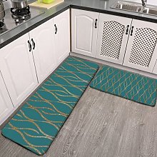 2 Pieces Kitchen Rugs and Mat,Chic Teal and Gold