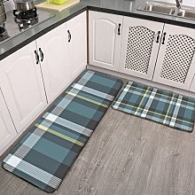 2 Pieces Kitchen Rugs and Mat,Classic Teal Blue