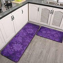 2 Pieces Kitchen Rugs and Mat,Dark Purple Damask