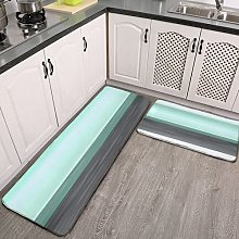 2 Pieces Kitchen Rugs and Mat,Gray Pastel Mint