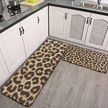 2 Pieces Kitchen Rugs and Mat,Leopard Print