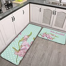 2 Pieces Kitchen Rugs and Mat,Modern Cherry