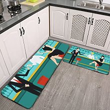 2 Pieces Kitchen Rugs and Mat,Retro Cocktail