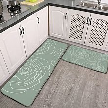 2 Pieces Kitchen Rugs and Mat,Sage Green and White