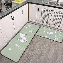 2 Pieces Kitchen Rugs and Mat,Sage Green Bunny
