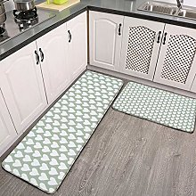 2 Pieces Kitchen Rugs and Mat,Sage Green Heart