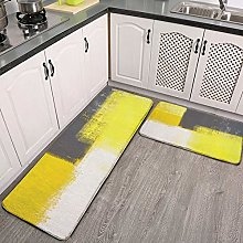 2 Pieces Kitchen Rugs and Mat,Simply Modern Grey