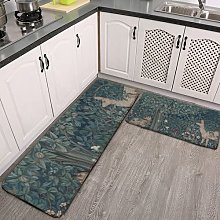 2 Pieces Kitchen Rugs and Mat,Vintage William