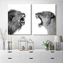 2 Pieces Lion and Lioness Animal Canvas Picture