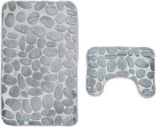 2 pieces non-slip stand bath mats set breathable