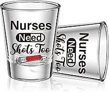 2 Pieces Nurse Need Shots Too Shot Glass, Funny