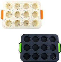 2 Pieces Silicone Muffin Pan, 12-Cup Cupcake Molds