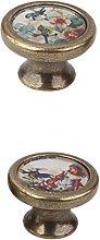 2 Pieces Vintage Retro Brass Round Cabinet Door