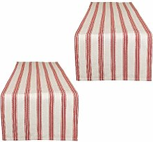 2 Red/White Table Runners - Machine Washable