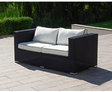 2 Seat Rattan Garden Sofa in Black & White -