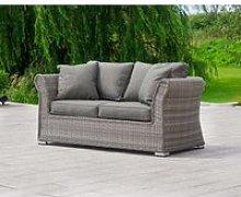 2 Seat Rattan Garden Sofa in Grey - Lisbon -