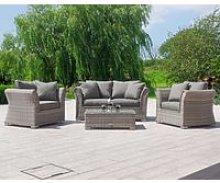 2 Seat Rattan Garden Sofa Set in Grey - Lisbon -