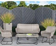 2 Seat Rattan Garden Sofa Set in Grey - Vasto
