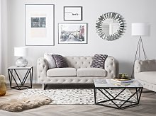 2 Seater Chesterfield Sofa Beige Ivory Button