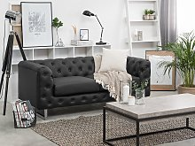 2 Seater Chesterfield Style Sofa Black Tuxedo Arms