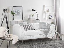 2 Seater Chesterfield Style Sofa White Tuxedo Arms