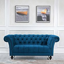 2 Seater Fabric Sofa, Happy Beds Chester Blue
