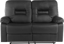 2 Seater Faux Leather Recliner Sofa Black BERGEN