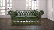 2 Seater Green antique leather Chesterfield sofa  