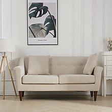 2 Seater Linen Fabric Buttoned Back Sofa with
