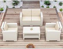 2 Seater Rattan Garden Sofa Set in White - Madrid
