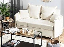 2 Seater Sofa Bed Beige Ivory Sleeping Function