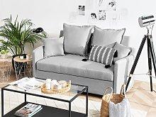 2 Seater Sofa Bed Light Grey Sleeping Function