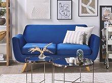 2 Seater Sofa Blue Velvet Upholstery on Slanted