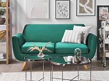 2 Seater Sofa Green Velvet Upholstery on Slanted