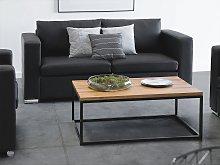 2 Seater Sofa Loveseat Black Split Leather