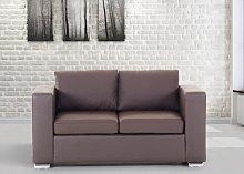 2 Seater Sofa Loveseat Brown Split Leather