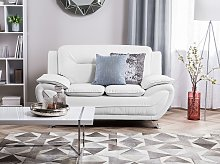 2 Seater Sofa White Faux Leather Pillow Top Arms