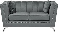2 Seater Velvet Fabric Sofa Grey GAULA