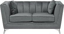 2 Seater Velvet Fabric Sofa Grey GAULA